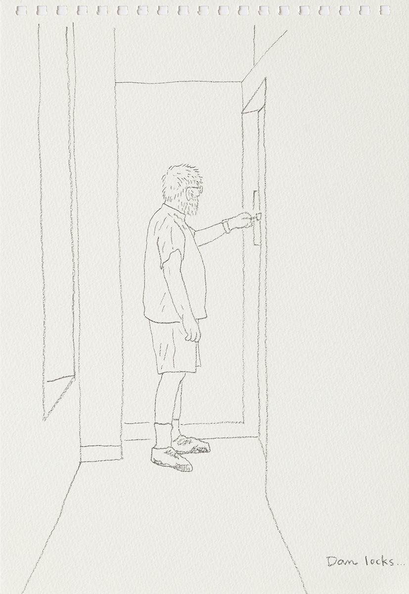 Mieko Meguro Dan Locks..., 2016 Graphite on paper Image: 9 7/8 x 6 3/8 inches (25.1 x 16.5 cm)  Frame: 12 1/2 x 9 1/2 x 1 1/8 inches (31.7 x 24.1 x 3.0 cm)
