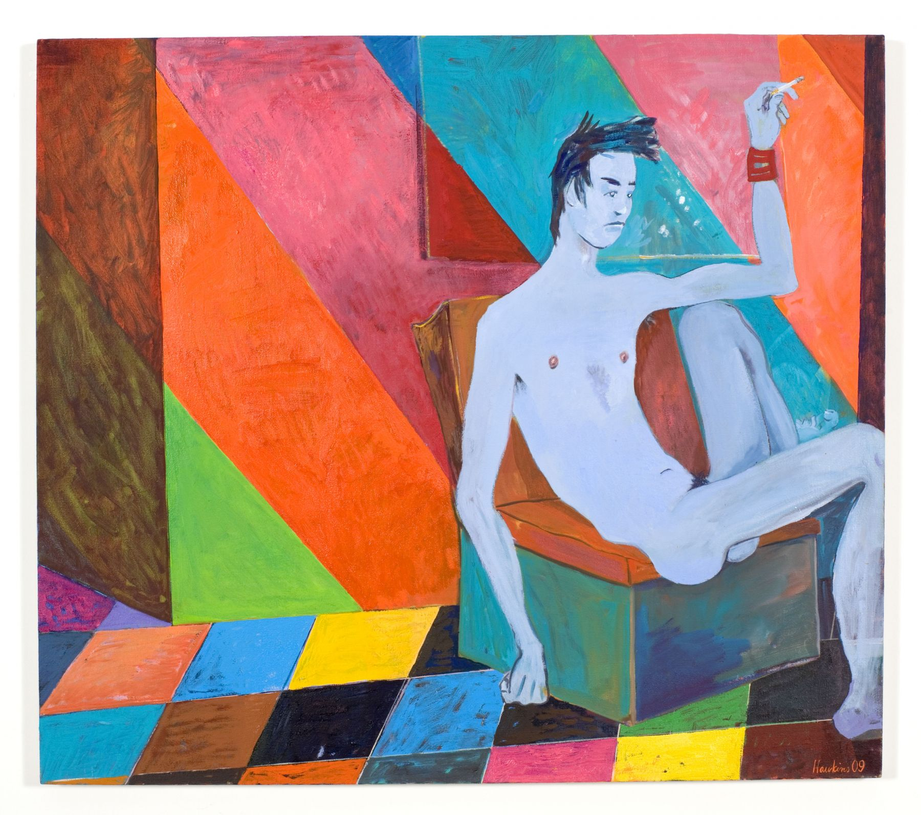 In between shows, 2009, oil on linen, 37 x 42 inches