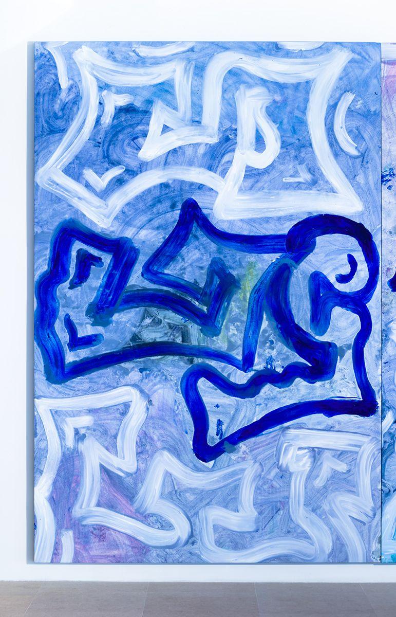 Ida Ekblad, Untitled, 2014, Oil on linen, 118 1/8 x 78 3/4 inches