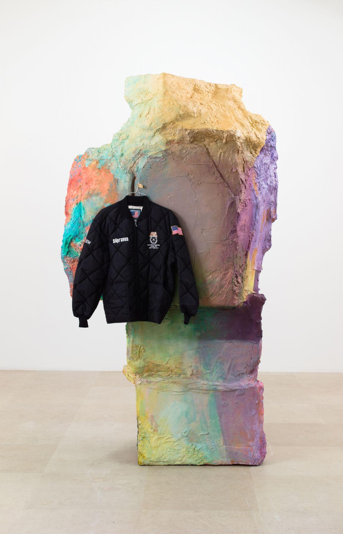 Rachel Harrison American Bar, 2014 Wood, polystyrene, cardboard, cement, acrylic, jacket, hanger, and kitchen scrubber 92 x 53 x 28 inches (233.7 x 134.6 x 71.1 cm)