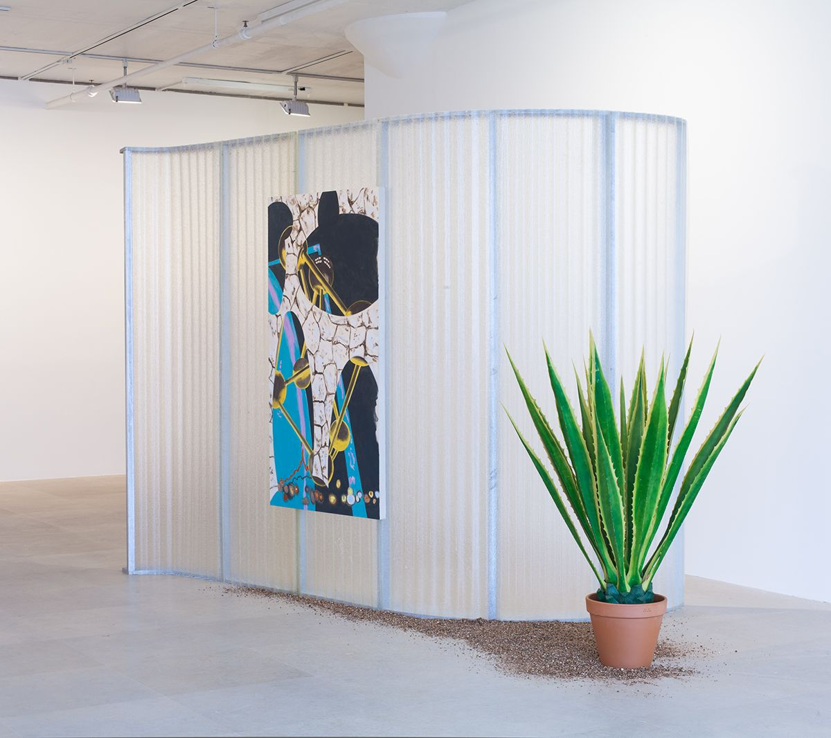 William Leavitt, Body Space, 2012, Acrylic on canvas, fiberglass, wood, artificial, plant, and vermiculite, 89 3/4 x 156 x 73 inches