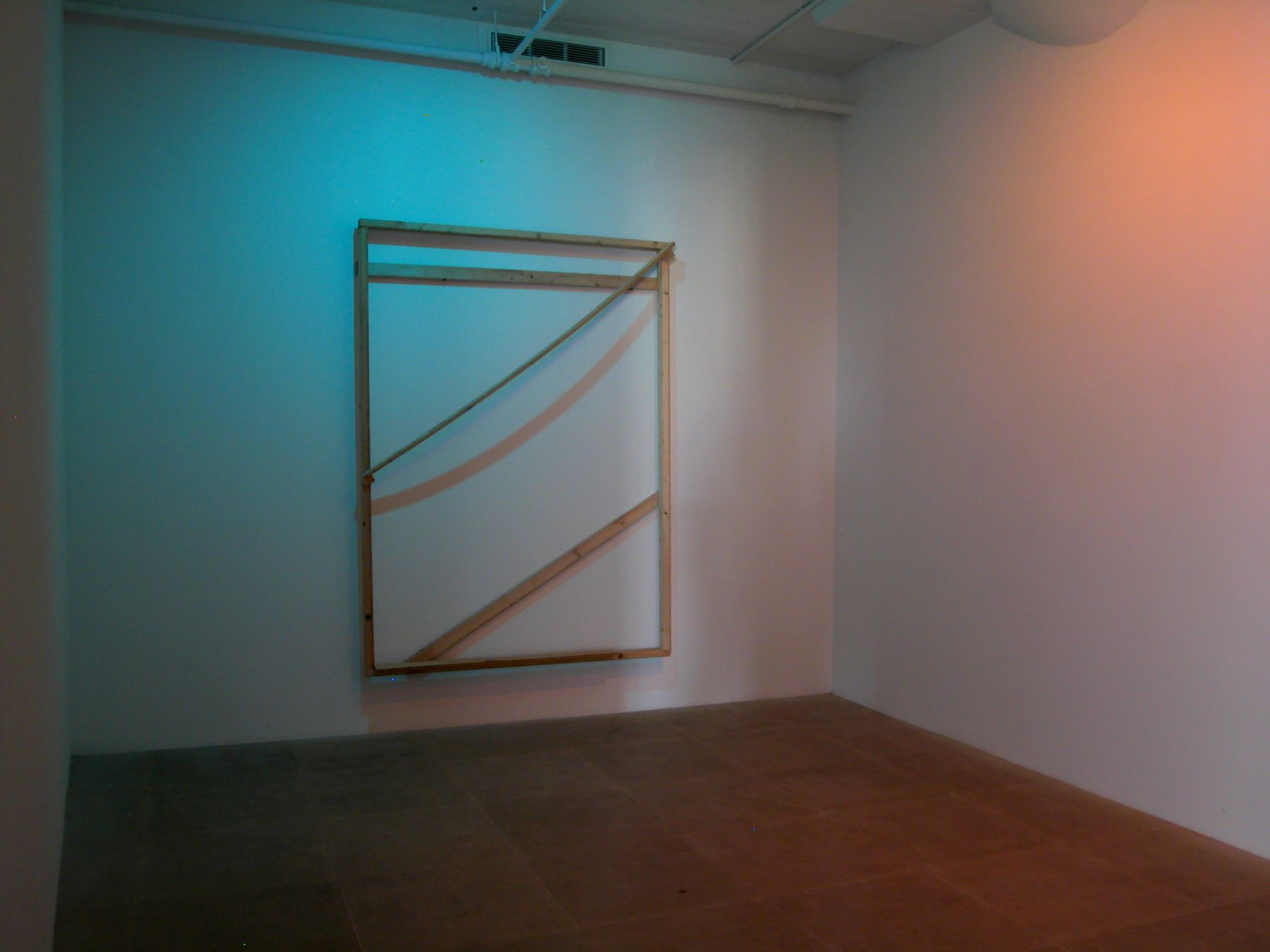 Its Origins Justify its Oranges, 2008, Wood, colored lights, 85 x 64 x 11 inches