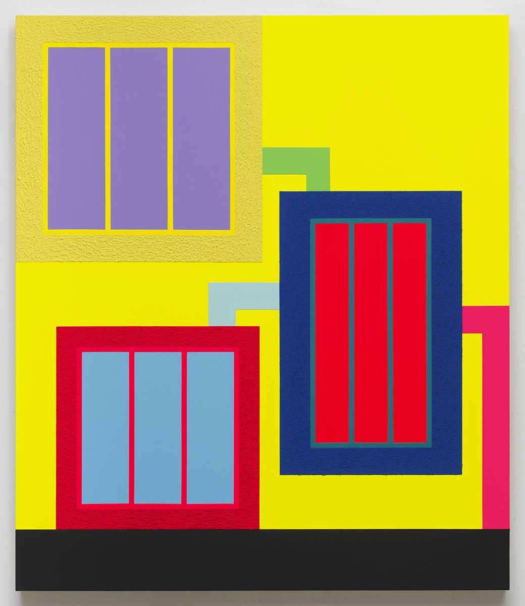 Peter Halley, Trouble, 2017 Acrylic, fluorescent acrylic, Flashe and Roll-A-Tex on canvas 86 x 73 inches (218.4 x 185.4 cm)