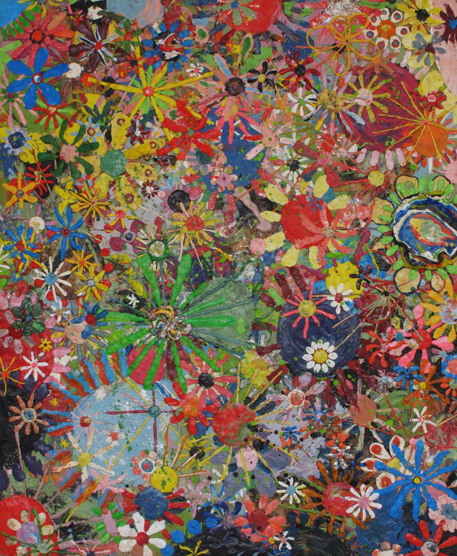 Flower painting, 2009, plasticine on wood panel, 49 1/2 x 40 1/2 x 3/4 inches