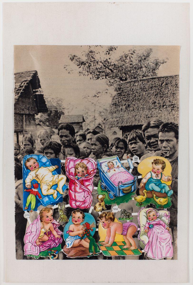 Konrad Lueg Untitled (Glanzbilder auf Vietnamesen), Unknown Collage on card Paper: 17 1/2 x 11 5/8 inches (44.5 x 29.5 cm) Frame: 20 x 14 1/8 inches (51.2 x 36 cm)