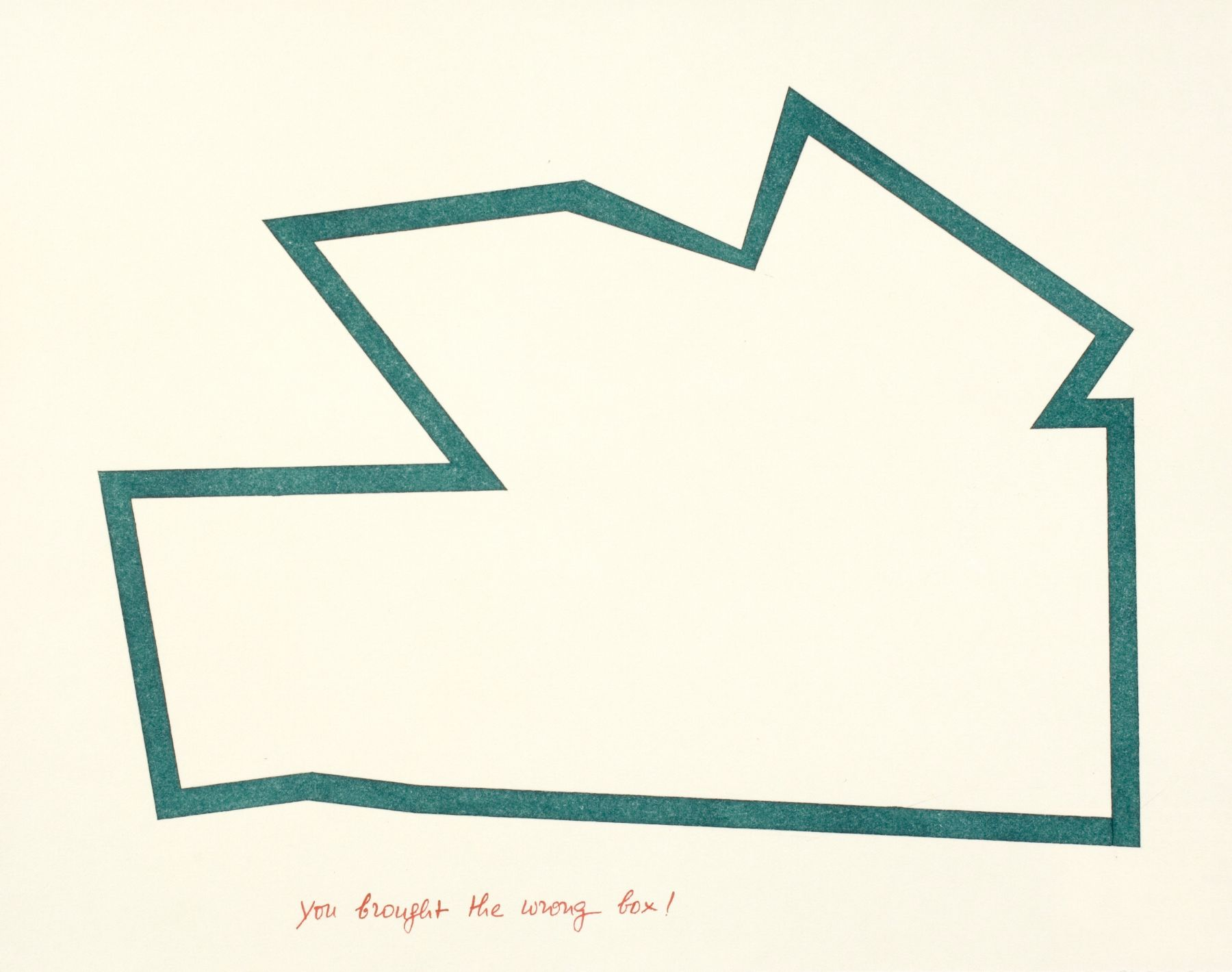 You brought the wrong box!, c. 1982, ink and pencil on Arches paper, 11 x 14 inches