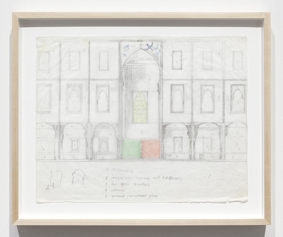 Katharina Wulff Untitled, 2014 Pencil, colored pencil on transparent paper Paper: 11 5/8 x 16 13/16 inches (29.5 x 42.7 cm) Frame: 14 x 17 x 1 3/8 inches (35.6 x 43.2 x 3.5 cm)