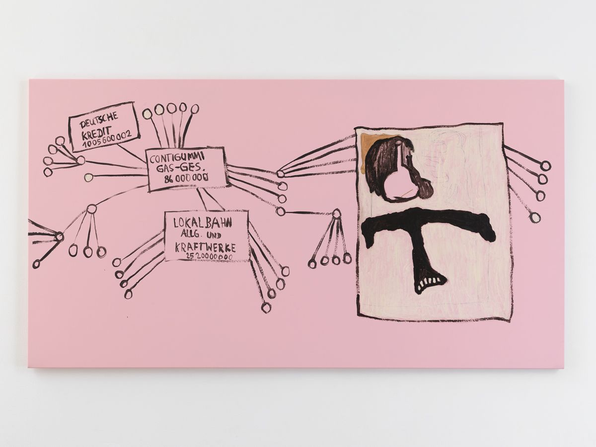 Michaela Eichwald,  Untitled, 2019,  Acrylic, graphite, glassmarker, varnish on polyurethane fabric,  51 x 98 1/2 inches (130 x 250 cm)