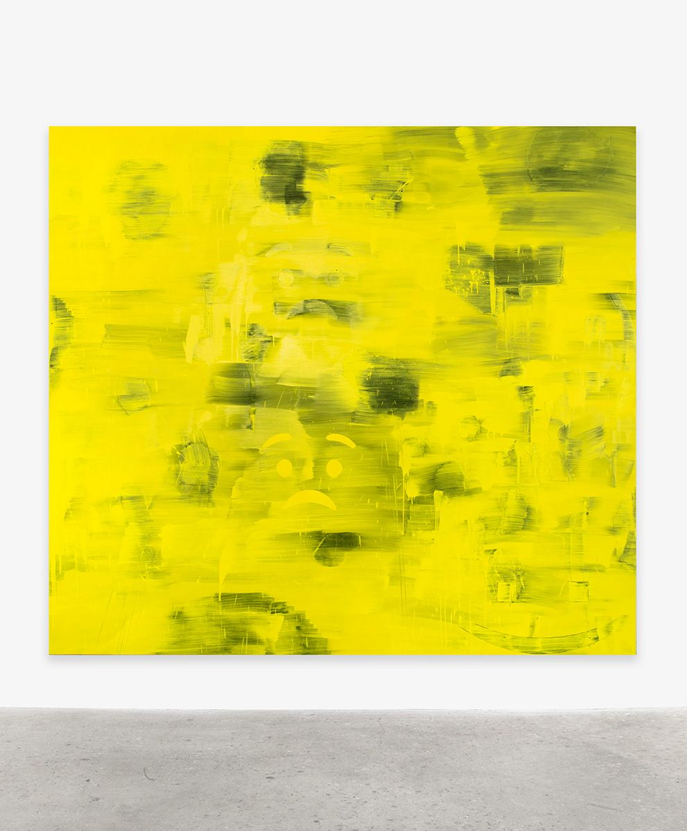 Jacqueline Humphries  Worried Emoji:), 2017  Oil on linen  100 x 111 inches (254 x 281.9 cm)