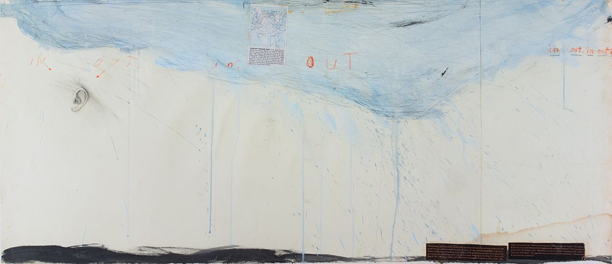 Candy Jernigan, In. Out., 1989, Acrylic, pastel, and collage on paper, 27 1/2 x 59 1/2 x 1 1/2 inches (69.8 x 151.1 x 3.8 cm)