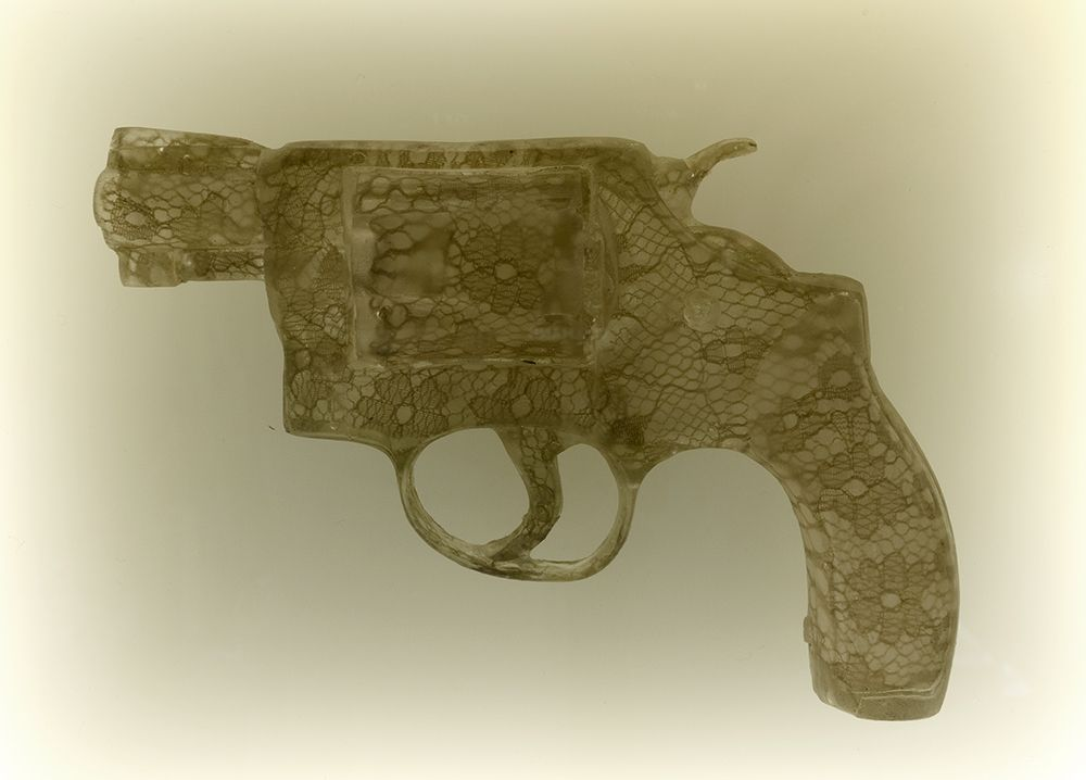 Nikki Luna Quince (2), 2016 Cast resin and lace handgun in lightbox