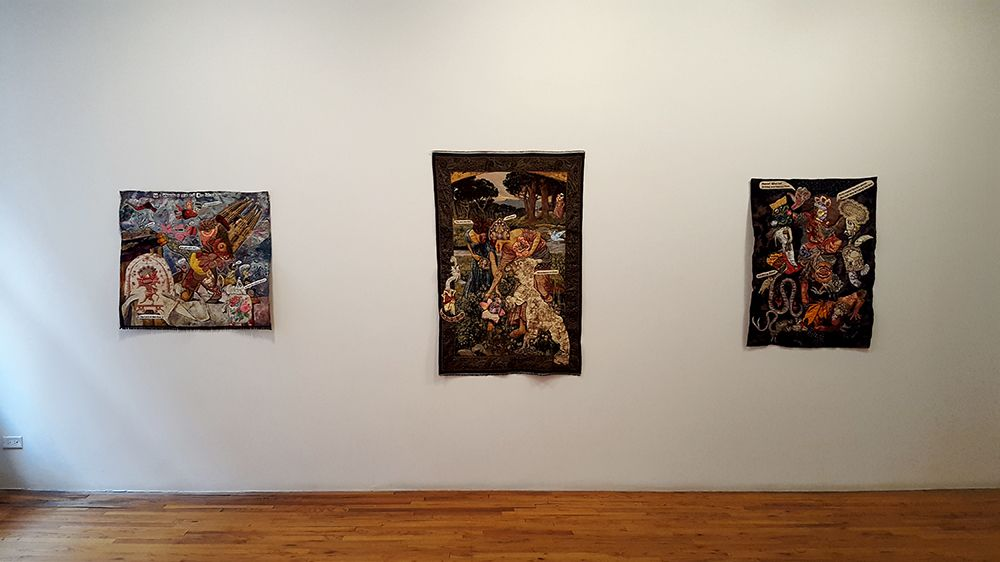 china marks 3 fabric collage artworks installed