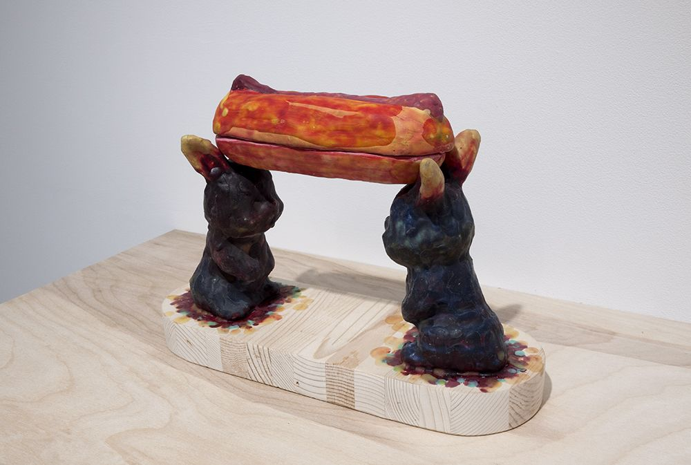 mariano ching bunnies and hot dog sculpture