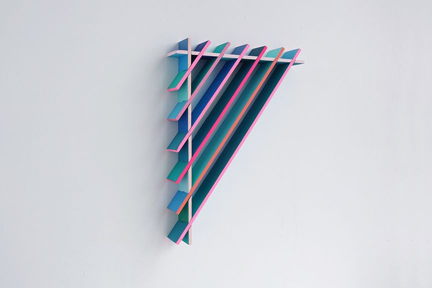chiaozza Blue Slats and Pink Lines, 2017 Acrylic on wood 16 x 12 x 2 in. / 40.8 x 30.5 x 5.1 cm.
