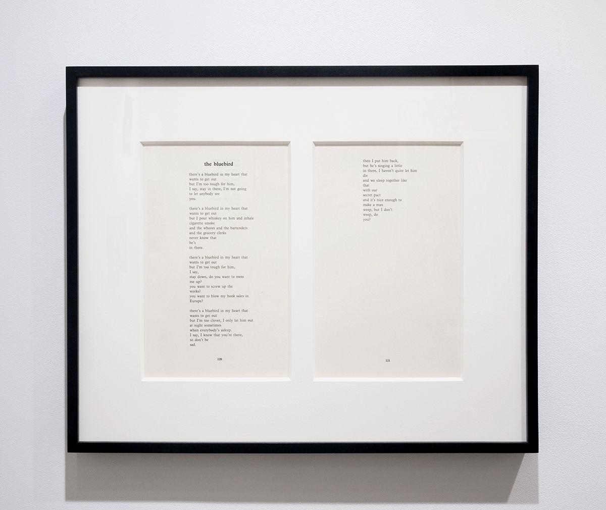 Charles Bukowski The Bluebird poem framed