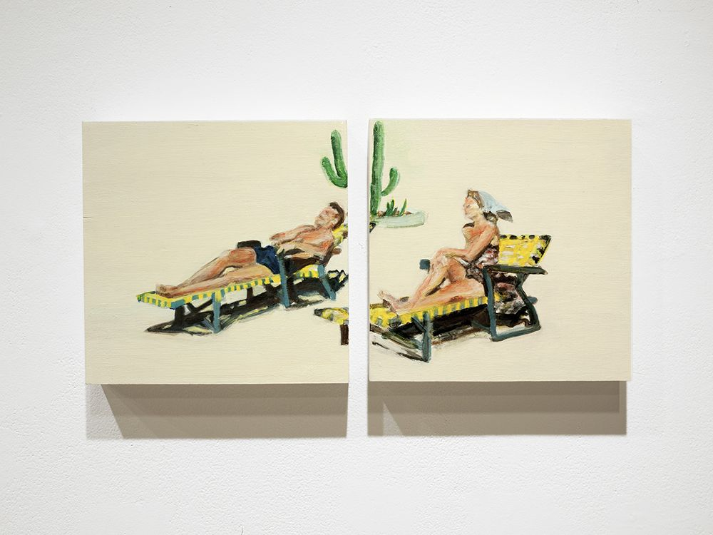 Mark Mann O.U.P. - Couple, 2016 Acrylic on two wood panels 10 x 20 in. / 25.4 x 50.8 cm. overall