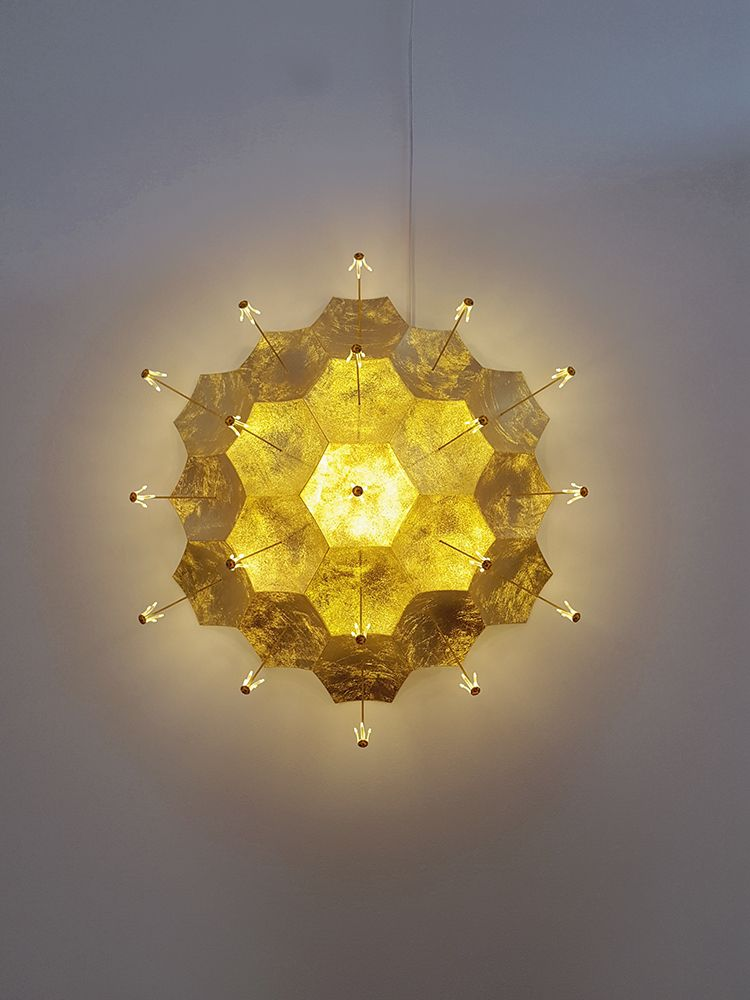 Kenzan Tsutakawa-Chinn Coronal Ejection, 2017 SLS-printed nylon, LEDs, composition goldleaf and brass with electronic wiring