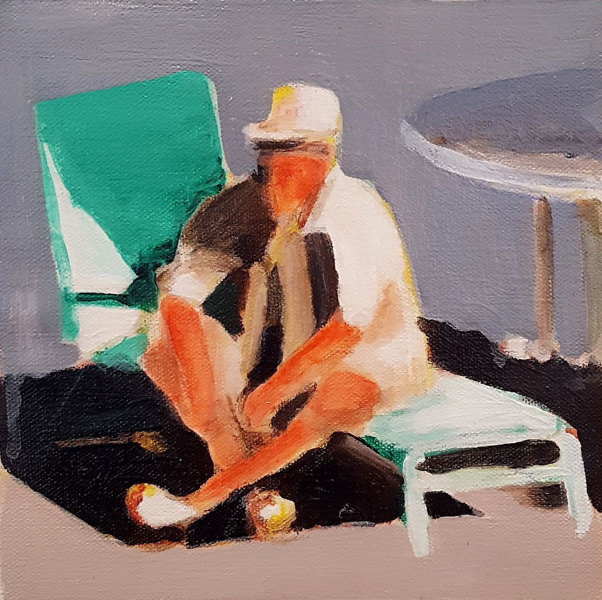 mark mann painting of man sitting on pool chair