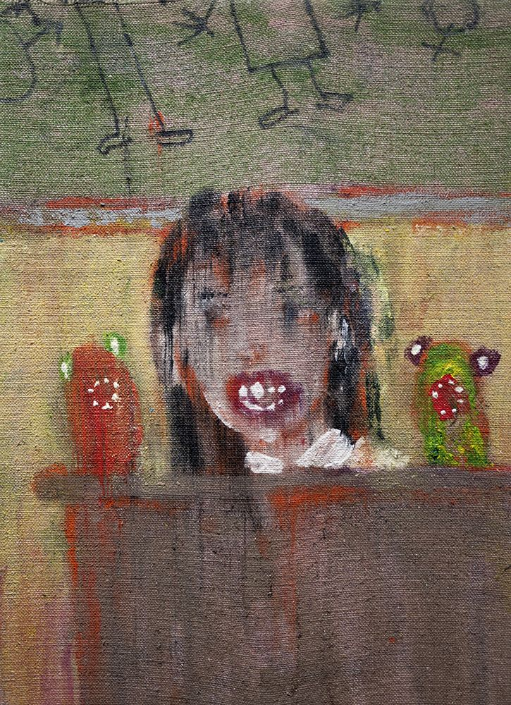 Danny Licul ​Sock Puppet Presentation (#37), 2014 Acrylic and oil on canvas