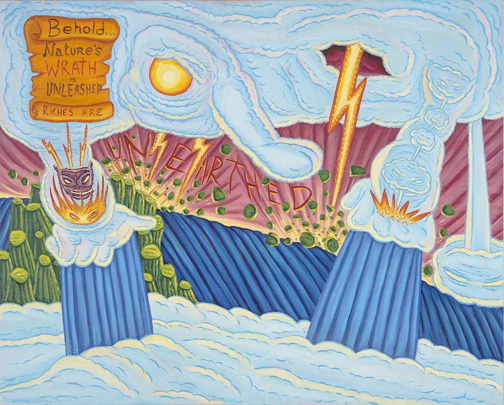 David Sandlin Behold Nature's Wrath, 2016 Oil on canvas, cloud demons