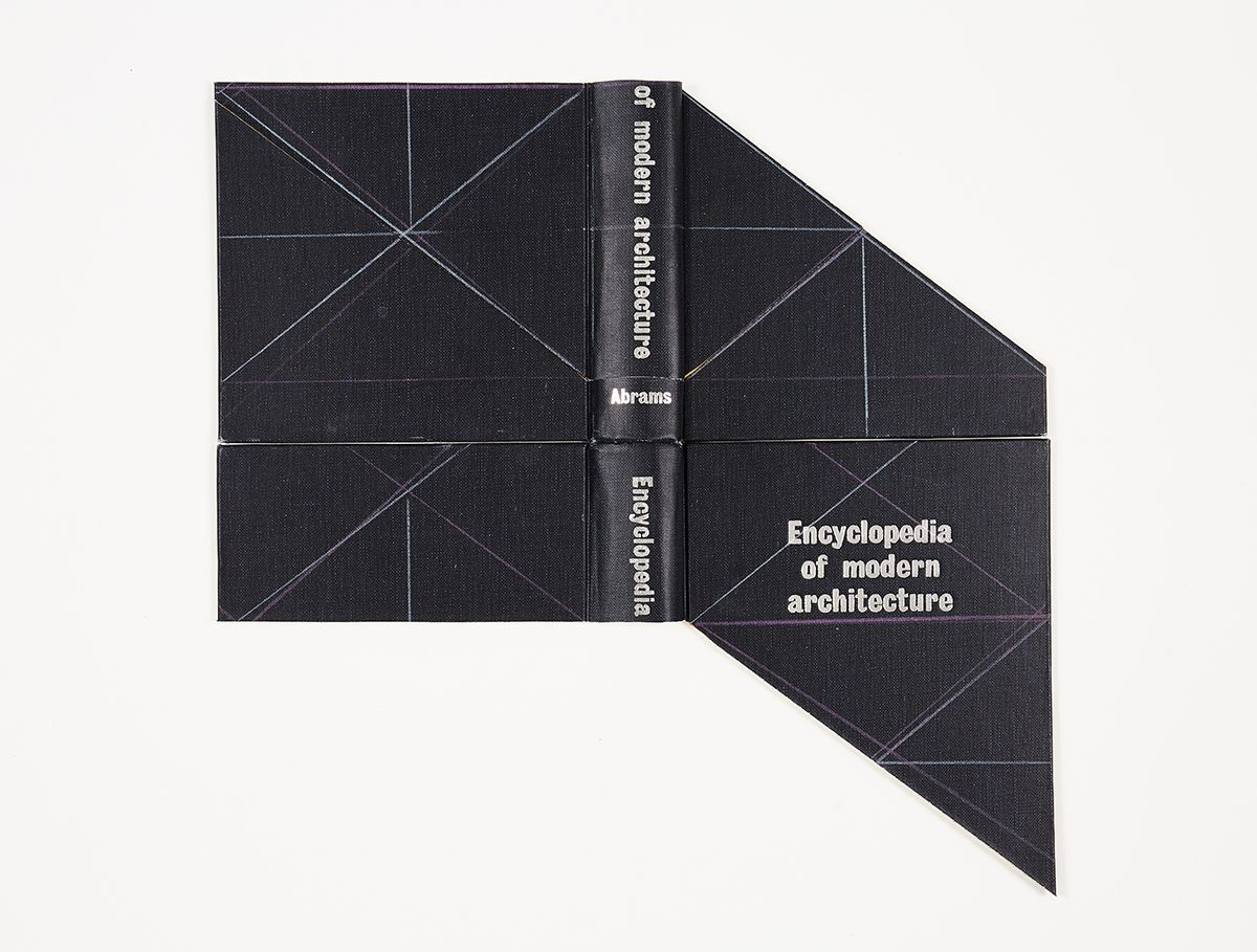 Björn Meyer-Ebrecht Untitled (Encyclopedia of Modern Architecture), 2017 Found book cover, colored pencil, mounted to museum board 15 3/4 x 16 1/4 in. / 40 x 41.5 cm.