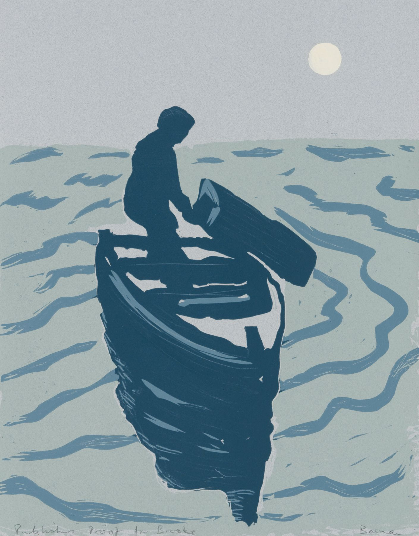 Richard Bosman ​Buried at Sea, 1987 Linocut