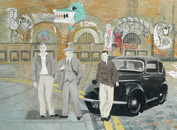 Sue Stone The Boys Go To London Town, 2014 Mixed media, hand/machine stitch and fabric paint 36 ¼ x 48 in. / 92 x 122 cm.