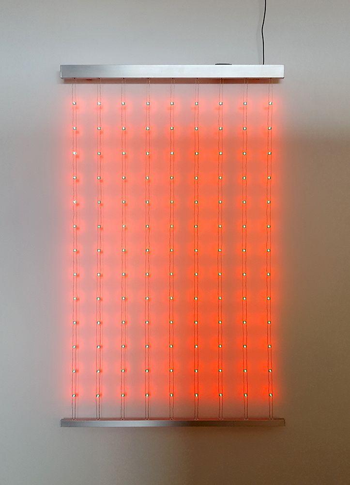 Kenzan Tsutakawa-Chinn Residual Comparison (2), 2017 Custom LED chips, arduino, rope-laid wire and aluminum 59 x 36 1/2 x 1 in. / 150 x 92.7 x 2.5 cm.