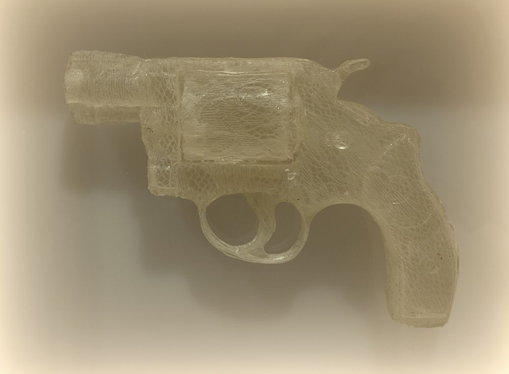 Nikki Luna Quince (5), 2016 Cast resin and lace handgun in lightbox