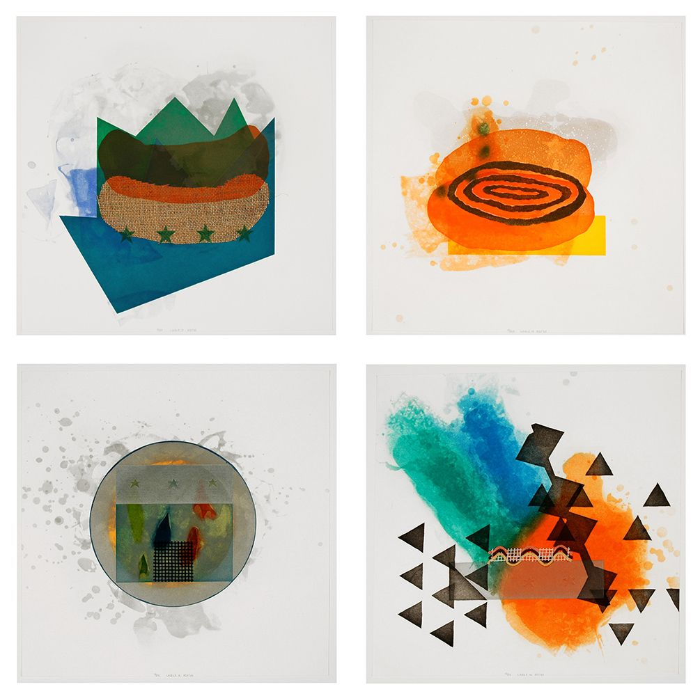 Richard Tuttle ​Cloth: Lable (13-16), 2004-05 Suite of four etchings with aquatint, spitbite,  sugarlift, softground, and fabric colle 16 x 16 in. / 40.6 x 40.6 cm each Edition of 25