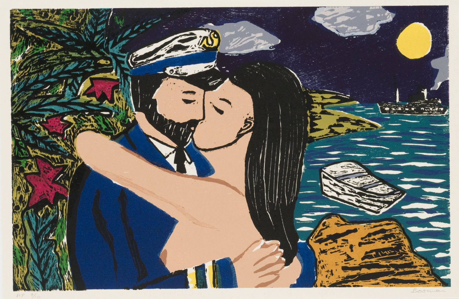 Richard Bosman ​South Seas Kiss, 1980-81 Woodcut