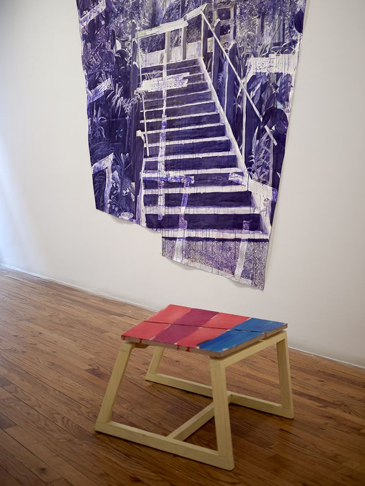 Björn Meyer-Ebrecht Uprising installation view of drawings and wood platforms