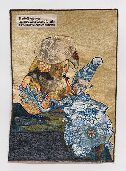 China Marks And She Cast a Spell to Bind Him to Her, 2017 Fabric, thread, lace, screen-printing ink, fusible adhesive on a contemporary tapestry copy of Vermeer's Lace Maker.