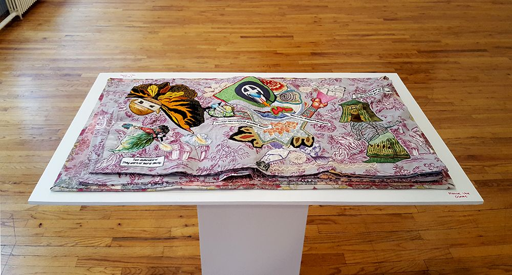 china marks fabric collage artist book on stand