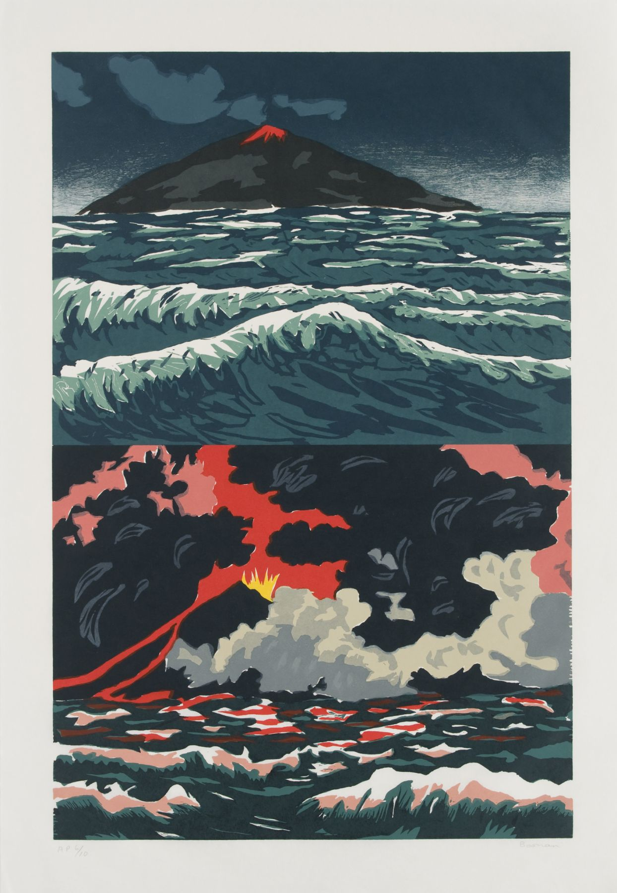 Richard Bosman ​Volcano, 1989 Woodcut