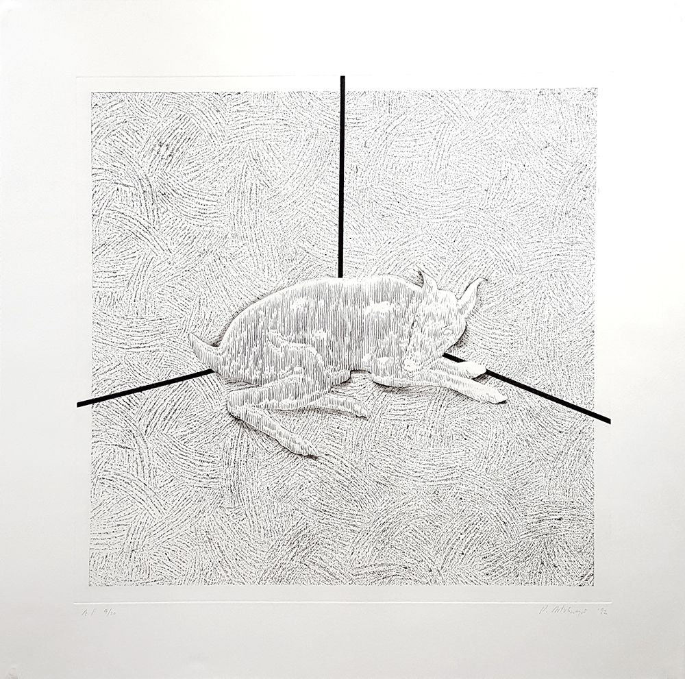 Richard Artschwager Intersect, 1992 Softground etching with spitbite, aquatint and drypoint 35 3/4 x 36 1/4 in. / 90.8 x 92.1 cm. Edition of 80