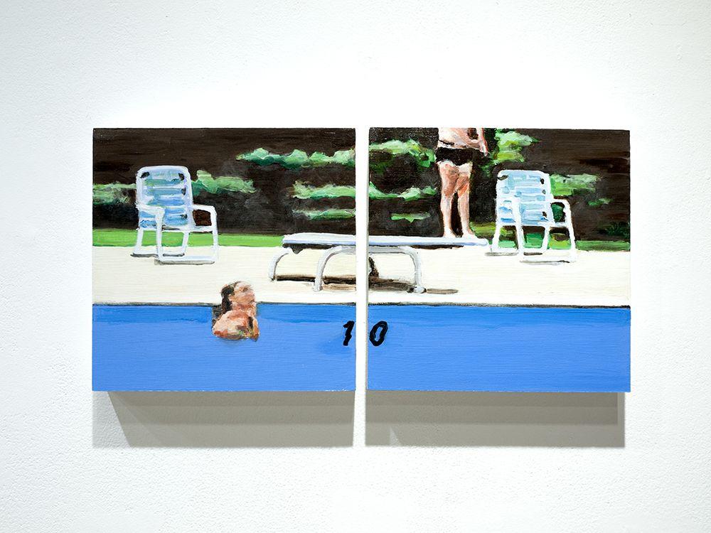 Mark Mann O.U.P. - Half Gainer, 2016 Acrylic on two wood panels 10 x 20 x 1 1/2 in. / 25.4 x 50.8 x 3.8 cm.