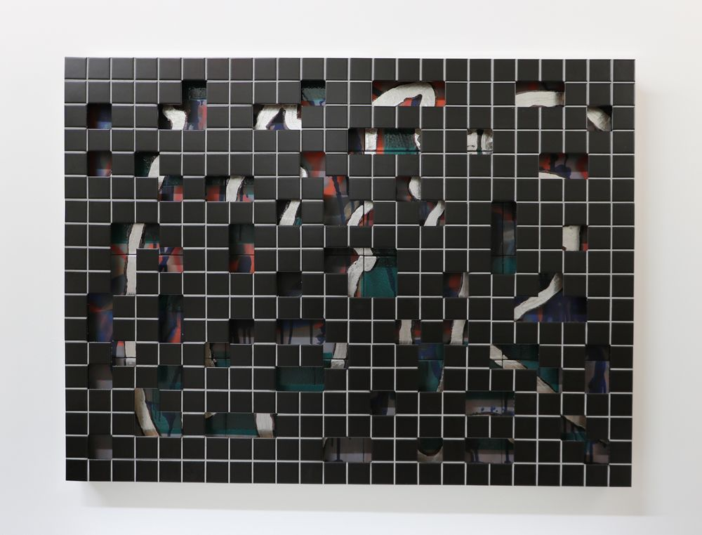 Jeff Schwarz Tile s/n 2017_5_9 Ceramic, steel and silverleaf 36 x 48 x 3 in. / 91.4 x 122 x 7.6 cm.