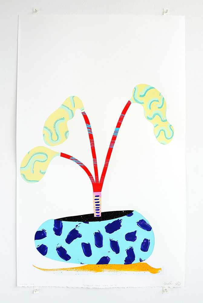 Chiaozza Exquisite Plant Collage (No. 30), 2018 Collage of painted paper on acid-free paper