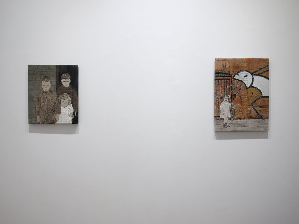 Sue Stone installation of embroidery artworks