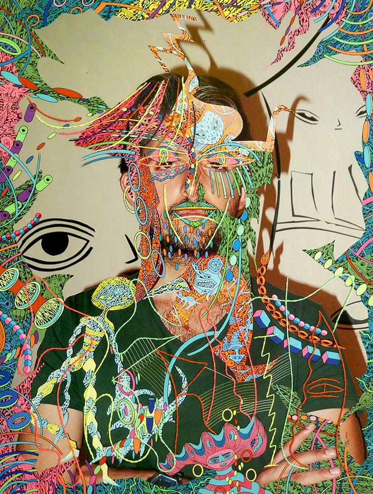 Dex Fernandez Shernita, 2015 Acrylic, ink  and embroidery on digital photograph