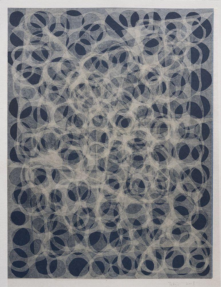 Takuji Hamanaka Negative Circle, 2008 Japanese woodcut with Gampi paper collage