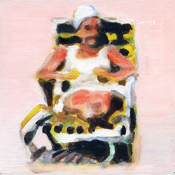 mark mann, painting of woman on pool chair