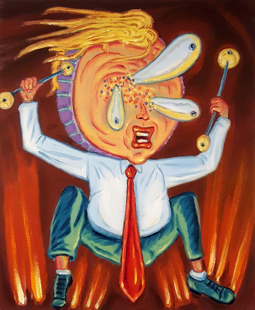 David Sandlin Mad Drummer, 2018 Oil on canvas, trump cartoon