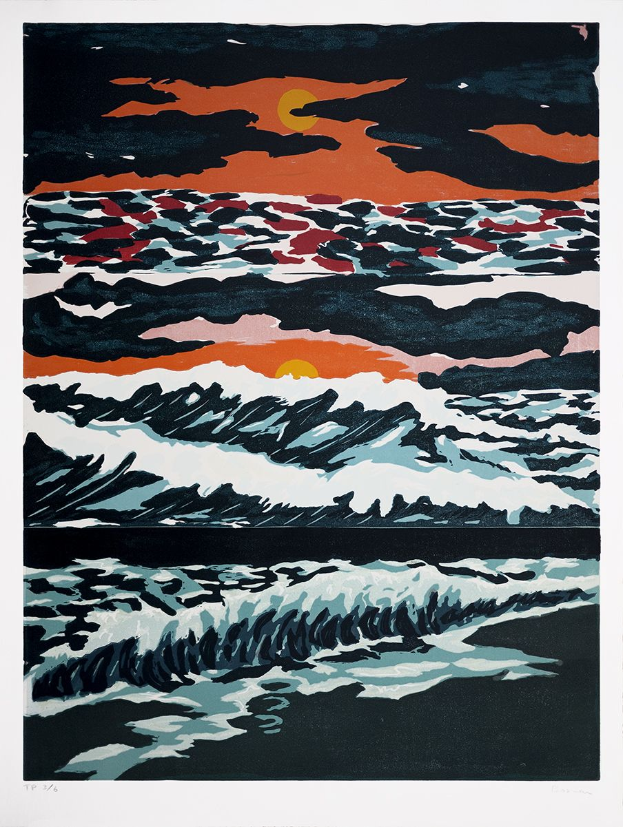Richard Bosman ​Tropical Sunset, 1987 Linocut