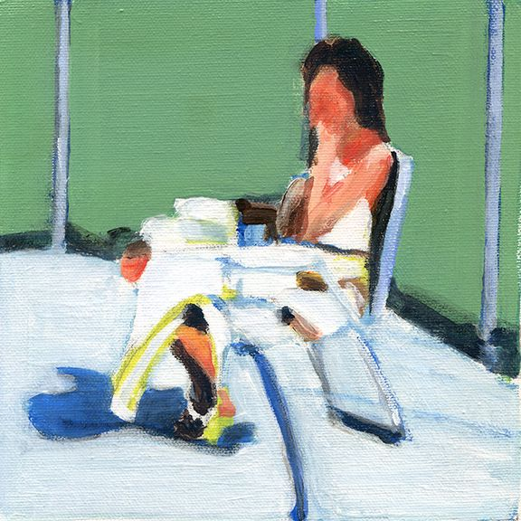 mark mann, painting of woman sitting on deck chair