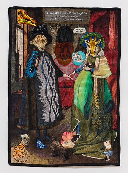 China Marks A Singular Occasion, 2017 Fabric, thread, screen-printing ink, brass trim, residual latex paint, fusible adhesive on a contemporary tapestry copy of The Arnolfini Portrait by Van Eyck