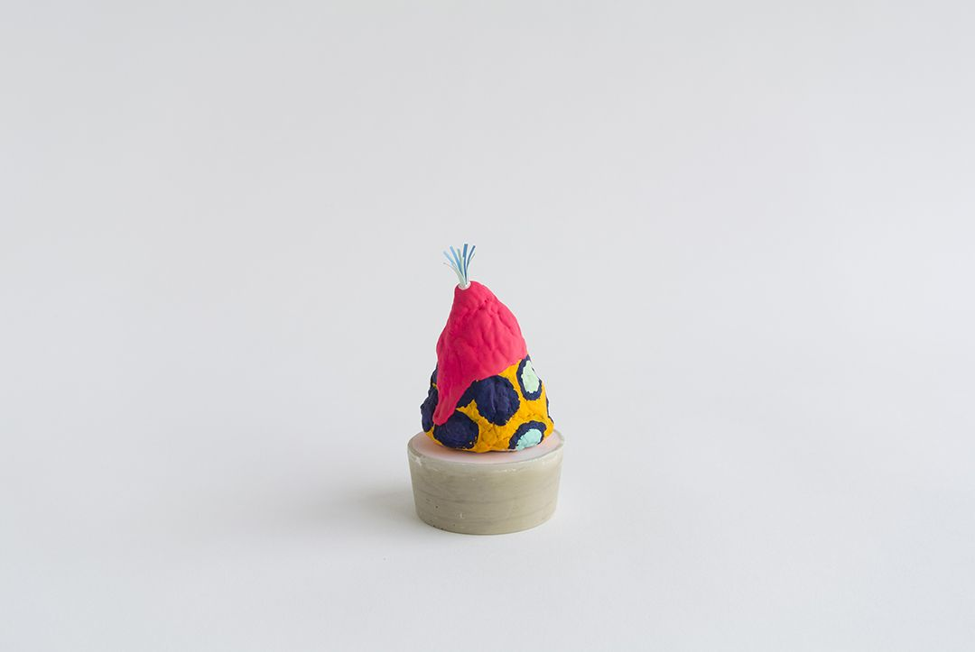 Chiaozza Fabiana, 2015 Paper pulp, painted paper, matte acrylic gouache, concrete 4 x 3 x 3 in. / 10.2 x 7.6 x 7.6 cm.