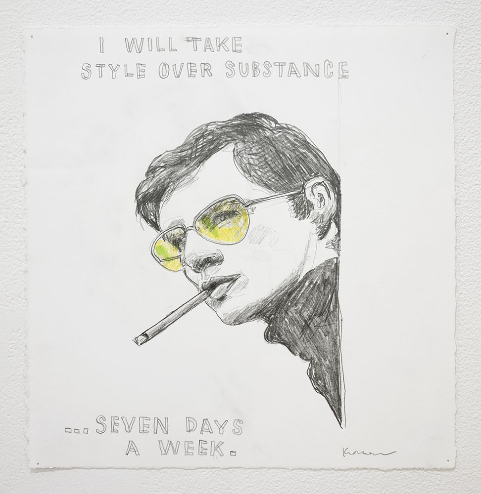 David Kramer I Will Take Style Over Substance, 2018 Graphite and crayon on paper