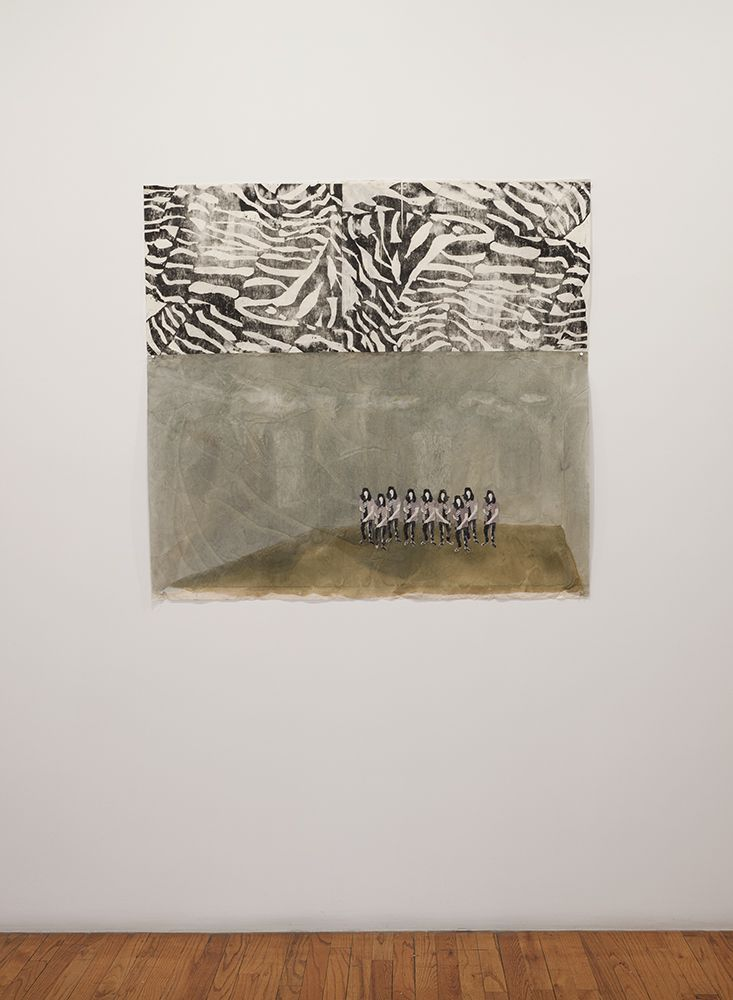 installation view of Elin Rødseth prints and print collage